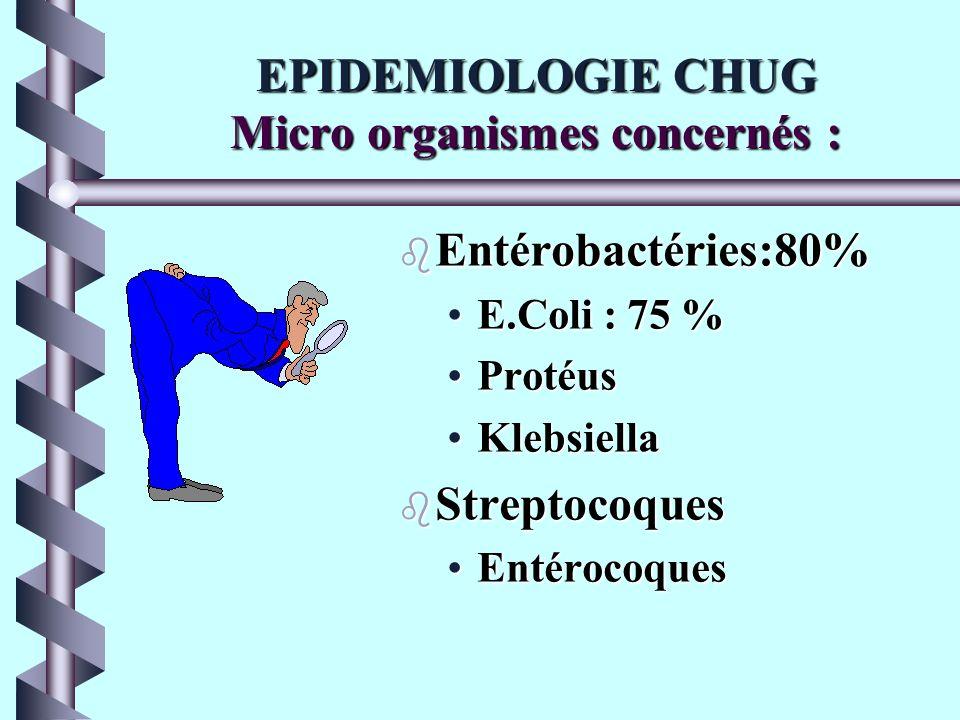 EPIDEMIOLOGIE b Infection urinaire chez 10 à 30 % des sondés (5% au CHU) b infections urinaires = 40 à 50 % des I.N. b 80% des I.U. liées au sondage