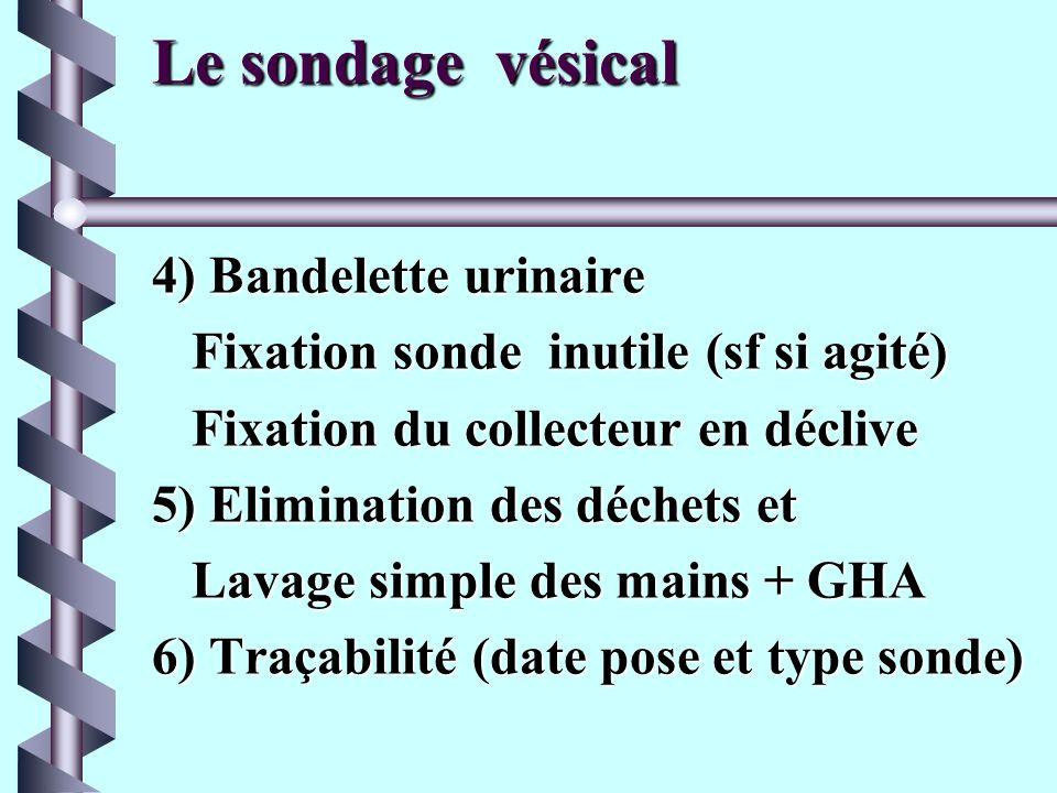 Le sondage vésical 3)Pose de la sonde chez lhomme b Introduction de la sonde, lubrifiée, verge verticale b Si sonde butte (vers 15 cms), abaisser la v