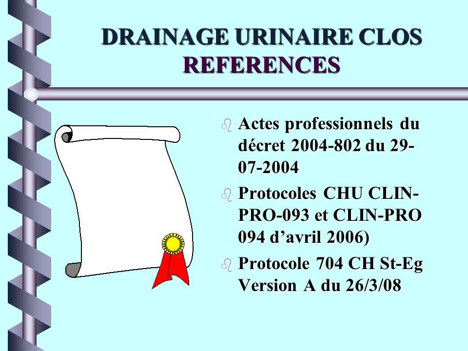 DRAINAGE URINAIRE CLOS REFERENCES b Actes professionnels du décret 2004-802 du 29- 07-2004 b Protocoles CHU CLIN- PRO-093 et CLIN-PRO 094 davril 2006) b Protocole 704 CH St-Eg Version A du 26/3/08