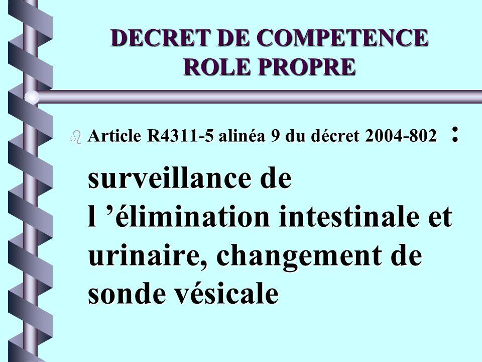 DECRET DE COMPETENCE ROLE PROPRE b Article R4311-5 alinéa 9 du décret 2004-802 : surveillance de l élimination intestinale et urinaire, changement de sonde vésicale