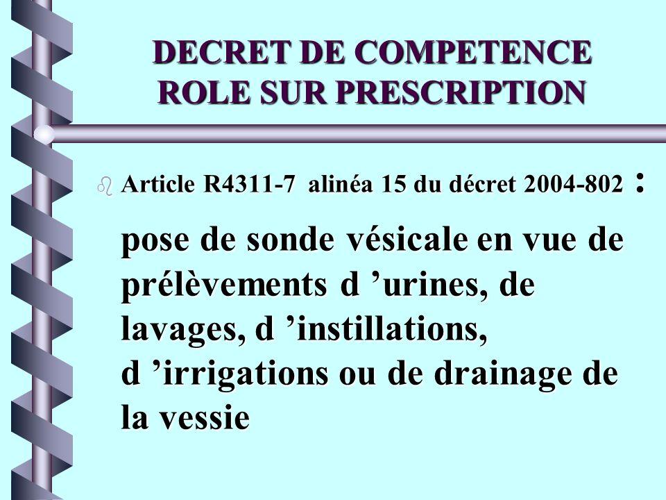 DECRET DE COMPETENCE ROLE SUR PRESCRIPTION b Article R4311-7 alinéa 15 du décret 2004-802 : pose de sonde vésicale en vue de prélèvements d urines, de lavages, d instillations, d irrigations ou de drainage de la vessie
