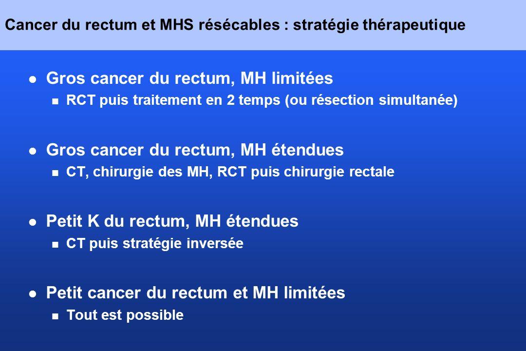 Cancer du rectum et MHS résécables : stratégie thérapeutique Gros cancer du rectum, MH limitées RCT puis traitement en 2 temps (ou résection simultané