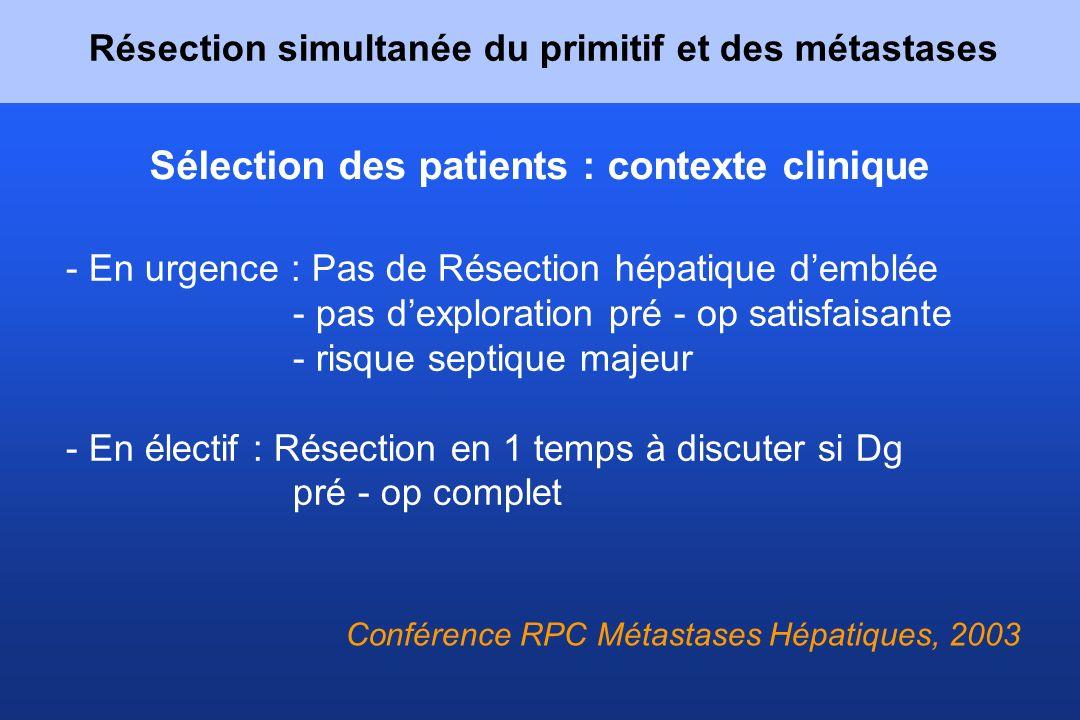 Sélection des patients : contexte clinique - En urgence : Pas de Résection hépatique demblée - pas dexploration pré - op satisfaisante - risque septiq