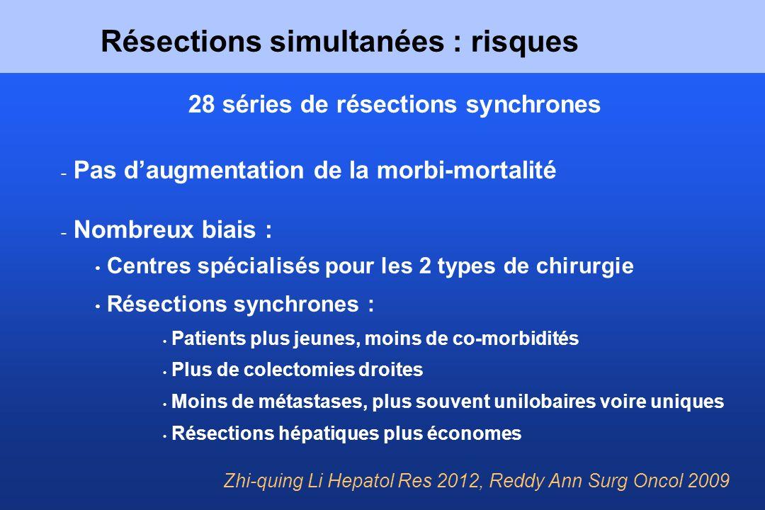 Résections simultanées : risques 28 séries de résections synchrones - Pas daugmentation de la morbi-mortalité - Nombreux biais : Centres spécialisés p