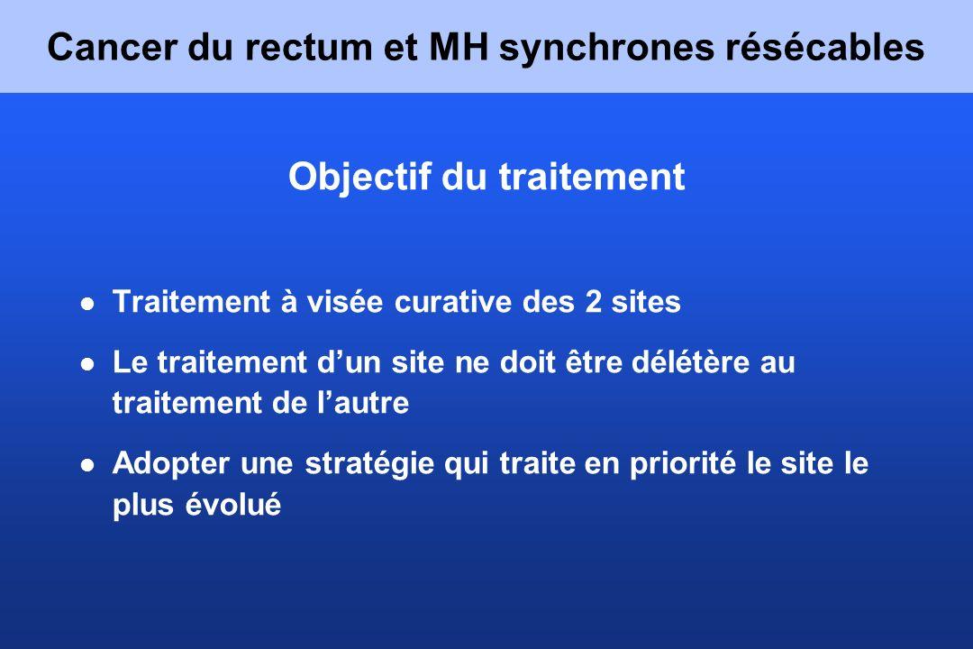 Métastases hépatiques synchrones résécables : Résection simultanée ou en 2 temps .