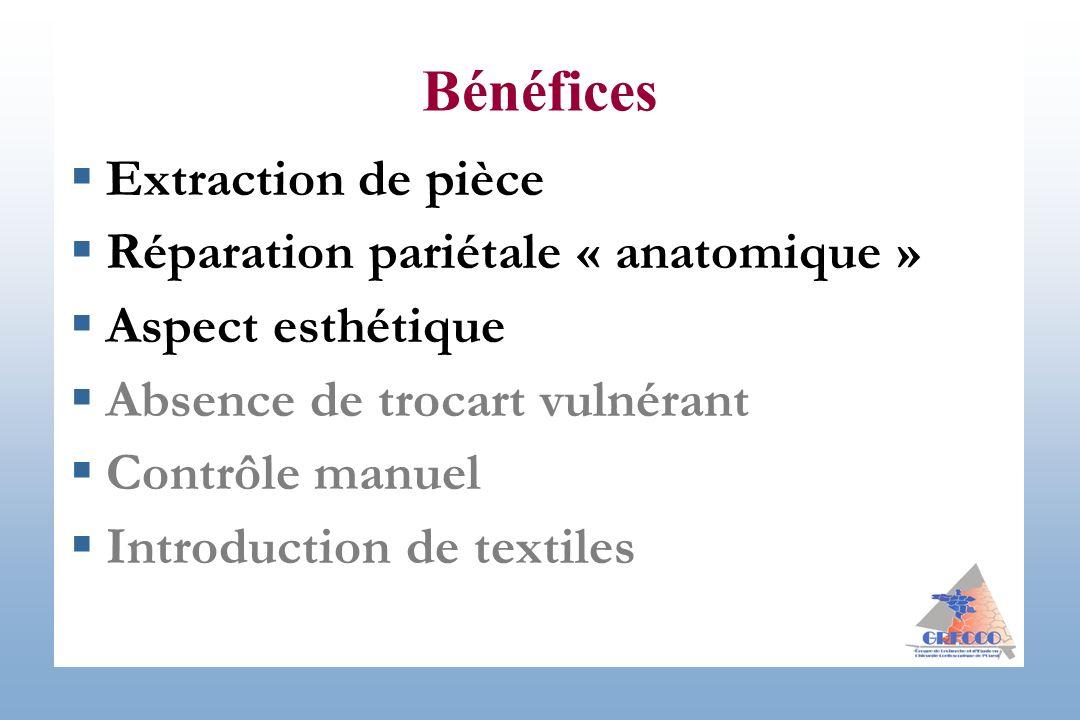 Extraction de pièce Réparation pariétale « anatomique » Aspect esthétique Absence de trocart vulnérant Contrôle manuel Introduction de textiles Bénéfi