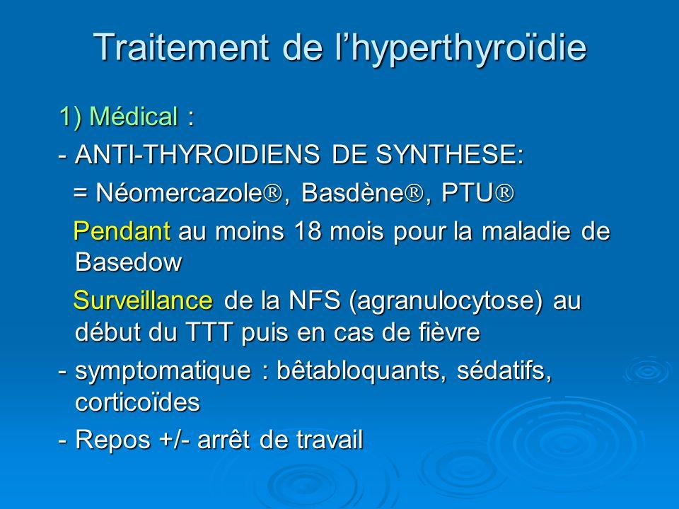1) Médical : -ANTI-THYROIDIENS DE SYNTHESE: = Néomercazole, Basdène, PTU = Néomercazole, Basdène, PTU Pendant au moins 18 mois pour la maladie de Basedow Pendant au moins 18 mois pour la maladie de Basedow Surveillance de la NFS (agranulocytose) au début du TTT puis en cas de fièvre Surveillance de la NFS (agranulocytose) au début du TTT puis en cas de fièvre -symptomatique : bêtabloquants, sédatifs, corticoïdes -Repos +/- arrêt de travail Traitement de lhyperthyroïdie