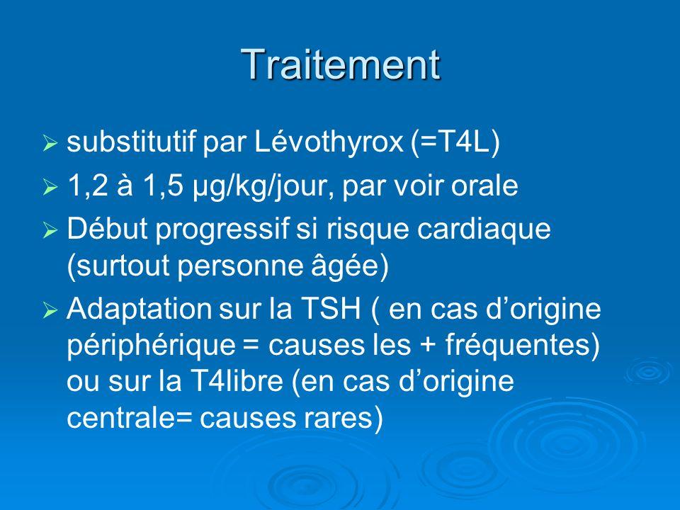 Traitement substitutif par Lévothyrox (=T4L) 1,2 à 1,5 µg/kg/jour, par voir orale Début progressif si risque cardiaque (surtout personne âgée) Adaptat