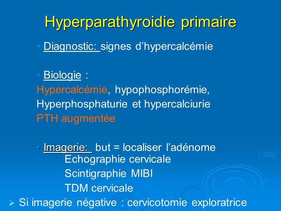 Hyperparathyroidie primaire Diagnostic: signes dhypercalcémie Biologie : Hypercalcémie, hypophosphorémie, Hyperphosphaturie et hypercalciurie PTH augmentée Imagerie:Imagerie: but = localiser ladénome Echographie cervicale Scintigraphie MIBI TDM cervicale Si imagerie négative : cervicotomie exploratrice