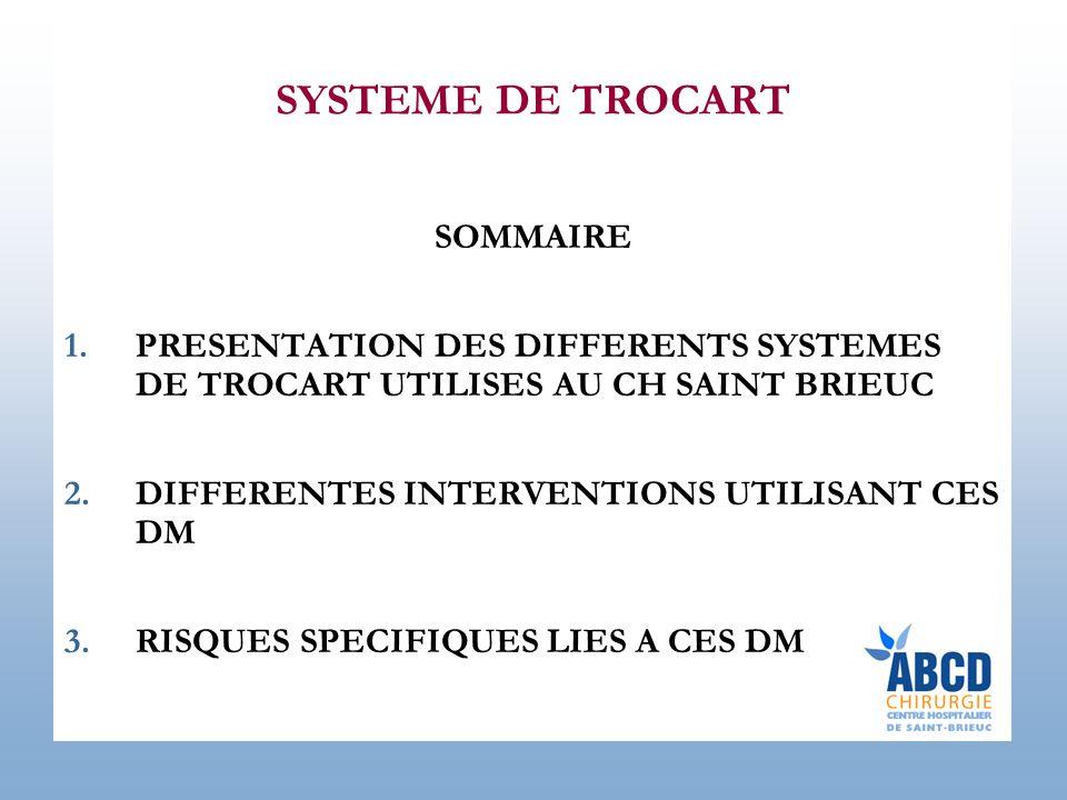 SYSTEME DE TROCART SOMMAIRE 1.PRESENTATION DES DIFFERENTS SYSTEMES DE TROCART UTILISES AU CH SAINT BRIEUC 2.DIFFERENTES INTERVENTIONS UTILISANT CES DM