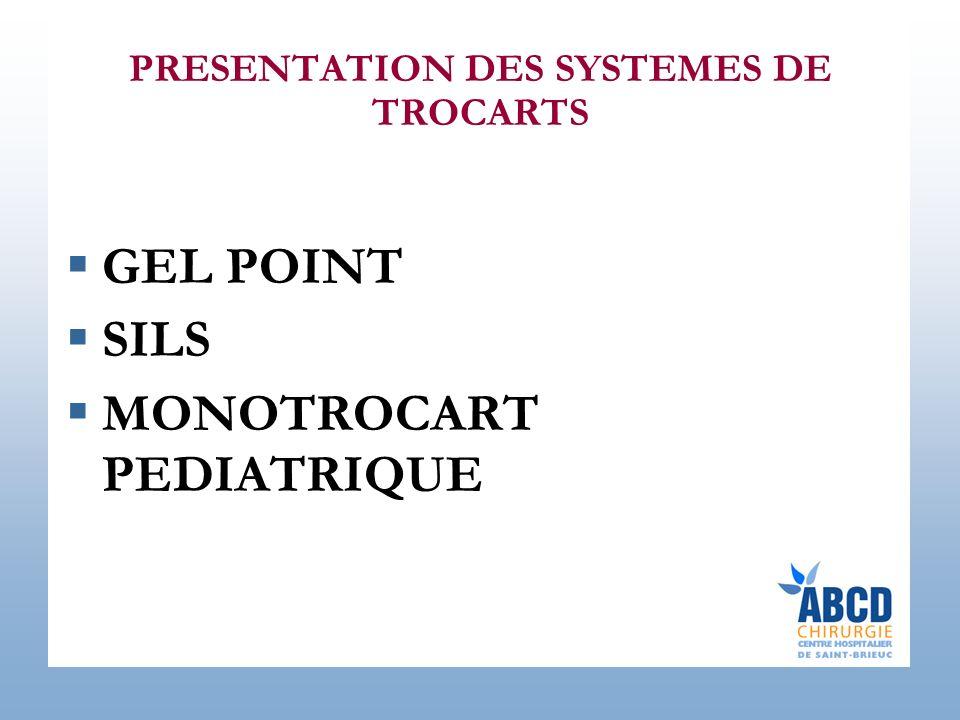 PRESENTATION DES SYSTEMES DE TROCARTS GEL POINT SILS MONOTROCART PEDIATRIQUE