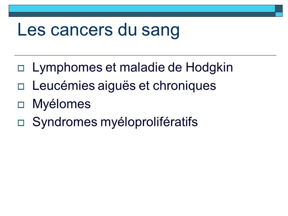 Les cancers du sang Lymphomes et maladie de Hodgkin Leucémies aiguës et chroniques Myélomes Syndromes myéloprolifératifs