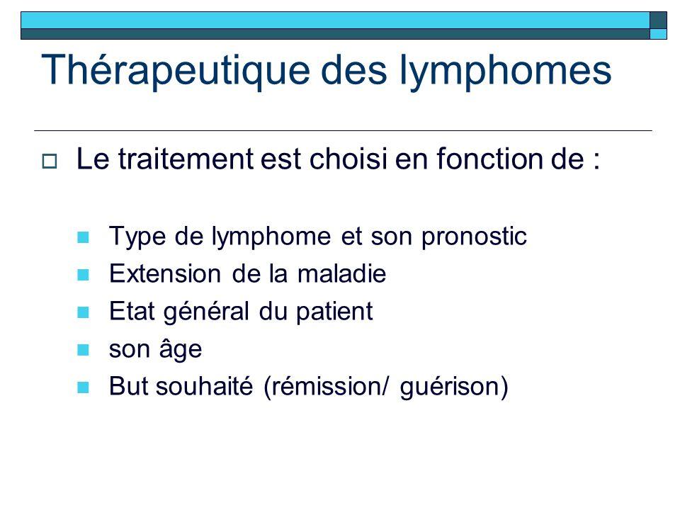 Thérapeutique des lymphomes Le traitement est choisi en fonction de : Type de lymphome et son pronostic Extension de la maladie Etat général du patient son âge But souhaité (rémission/ guérison)