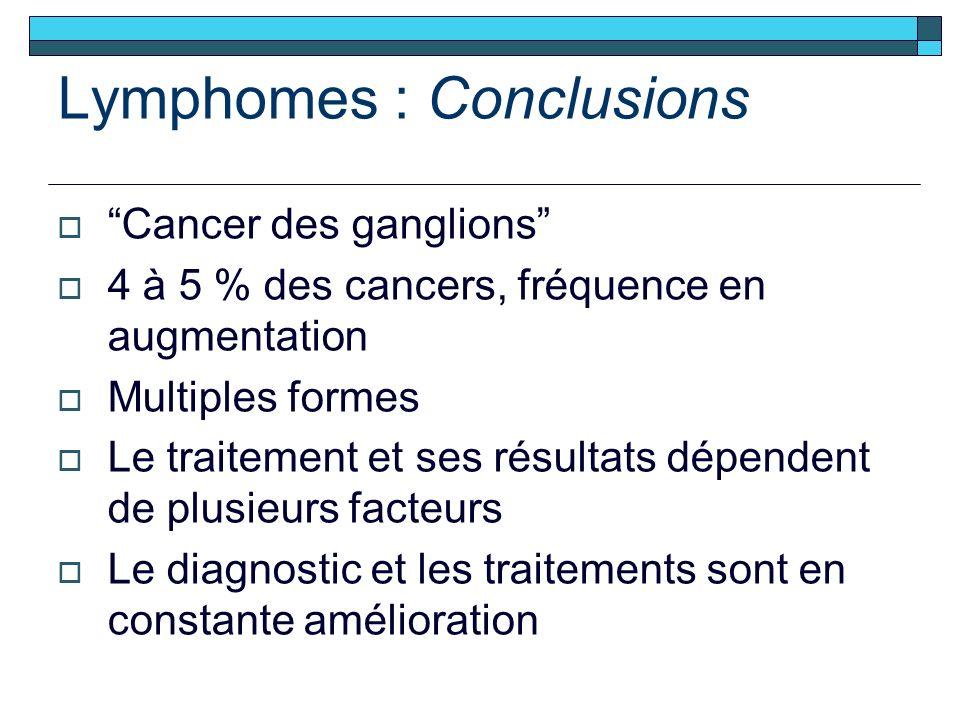 Lymphomes : Conclusions Cancer des ganglions 4 à 5 % des cancers, fréquence en augmentation Multiples formes Le traitement et ses résultats dépendent de plusieurs facteurs Le diagnostic et les traitements sont en constante amélioration