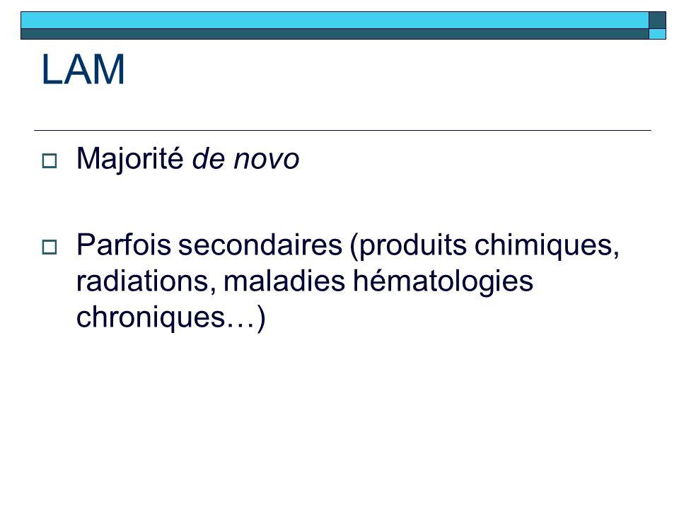 LAM Majorité de novo Parfois secondaires (produits chimiques, radiations, maladies hématologies chroniques…)