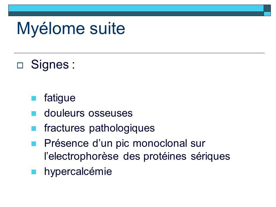 Myélome suite Signes : fatigue douleurs osseuses fractures pathologiques Présence dun pic monoclonal sur lelectrophorèse des protéines sériques hypercalcémie