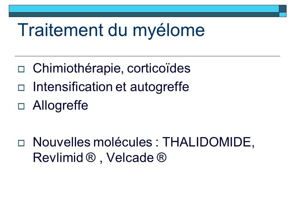 Traitement du myélome Chimiothérapie, corticoïdes Intensification et autogreffe Allogreffe Nouvelles molécules : THALIDOMIDE, Revlimid ®, Velcade ®