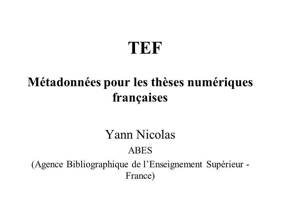 TEF Métadonnées pour les thèses numériques françaises Yann Nicolas ABES (Agence Bibliographique de lEnseignement Supérieur - France)