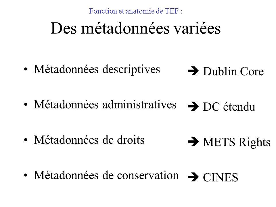 Fonction et anatomie de TEF : Des métadonnées variées Métadonnées descriptives Métadonnées administratives Métadonnées de droits Métadonnées de conser