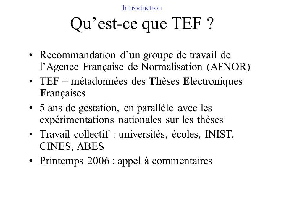 Introduction Quest-ce que TEF ? Recommandation dun groupe de travail de lAgence Française de Normalisation (AFNOR) TEF = métadonnées des Thèses Electr