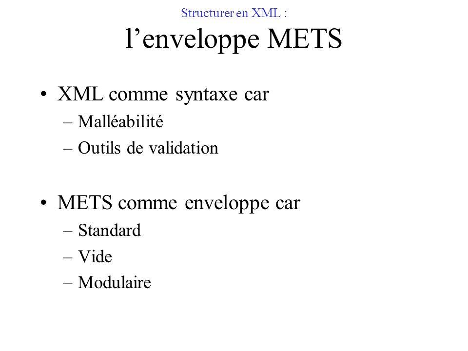 Structurer en XML : lenveloppe METS XML comme syntaxe car –Malléabilité –Outils de validation METS comme enveloppe car –Standard –Vide –Modulaire