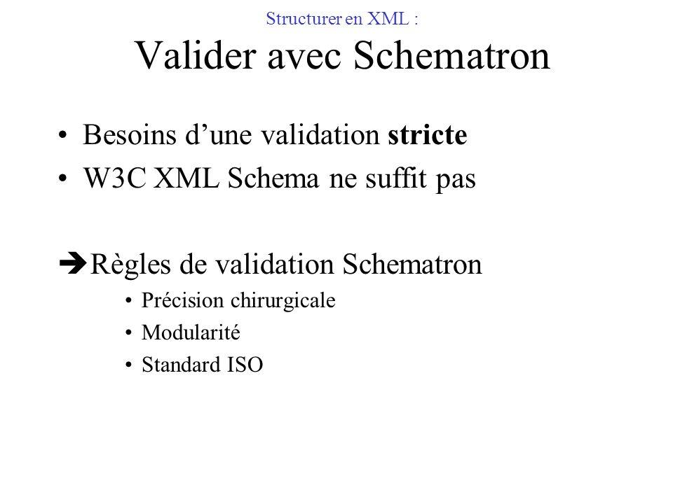 Structurer en XML : Valider avec Schematron Besoins dune validation stricte W3C XML Schema ne suffit pas Règles de validation Schematron Précision chi