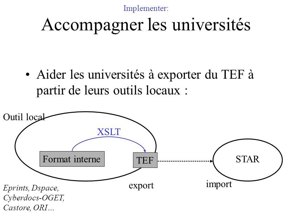 Implementer: Accompagner les universités Aider les universités à exporter du TEF à partir de leurs outils locaux : Outil local STAR TEF Format interne