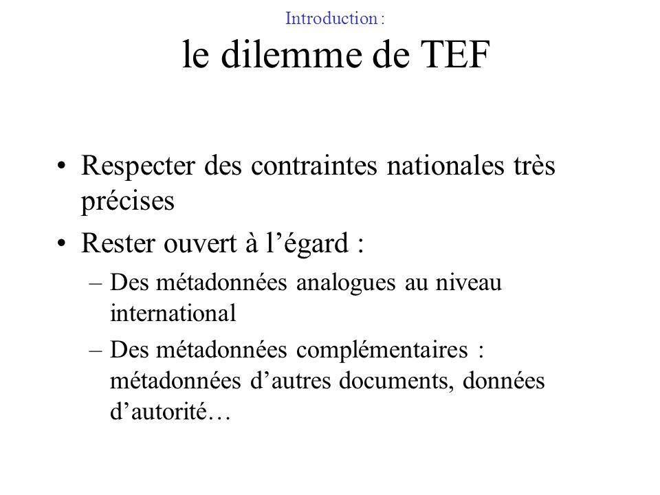 Introduction : le dilemme de TEF Respecter des contraintes nationales très précises Rester ouvert à légard : –Des métadonnées analogues au niveau inte