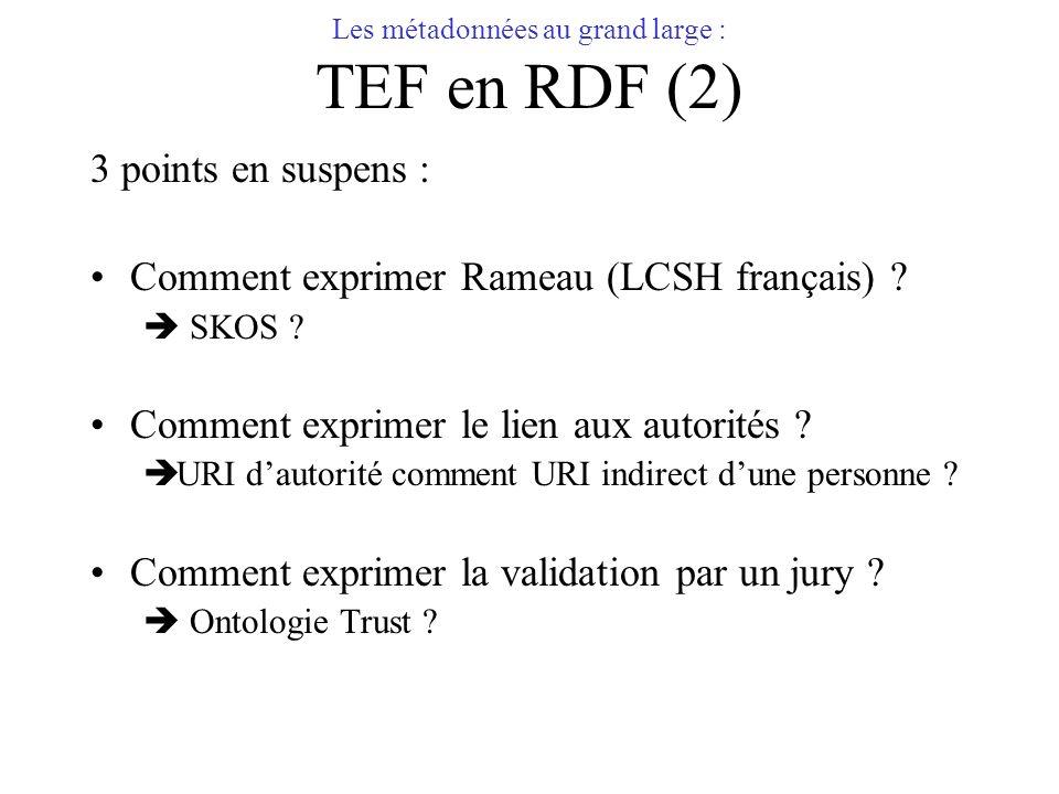 Les métadonnées au grand large : TEF en RDF (2) 3 points en suspens : Comment exprimer Rameau (LCSH français) ? SKOS ? Comment exprimer le lien aux au