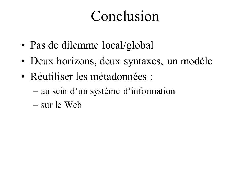 Conclusion Pas de dilemme local/global Deux horizons, deux syntaxes, un modèle Réutiliser les métadonnées : –au sein dun système dinformation –sur le
