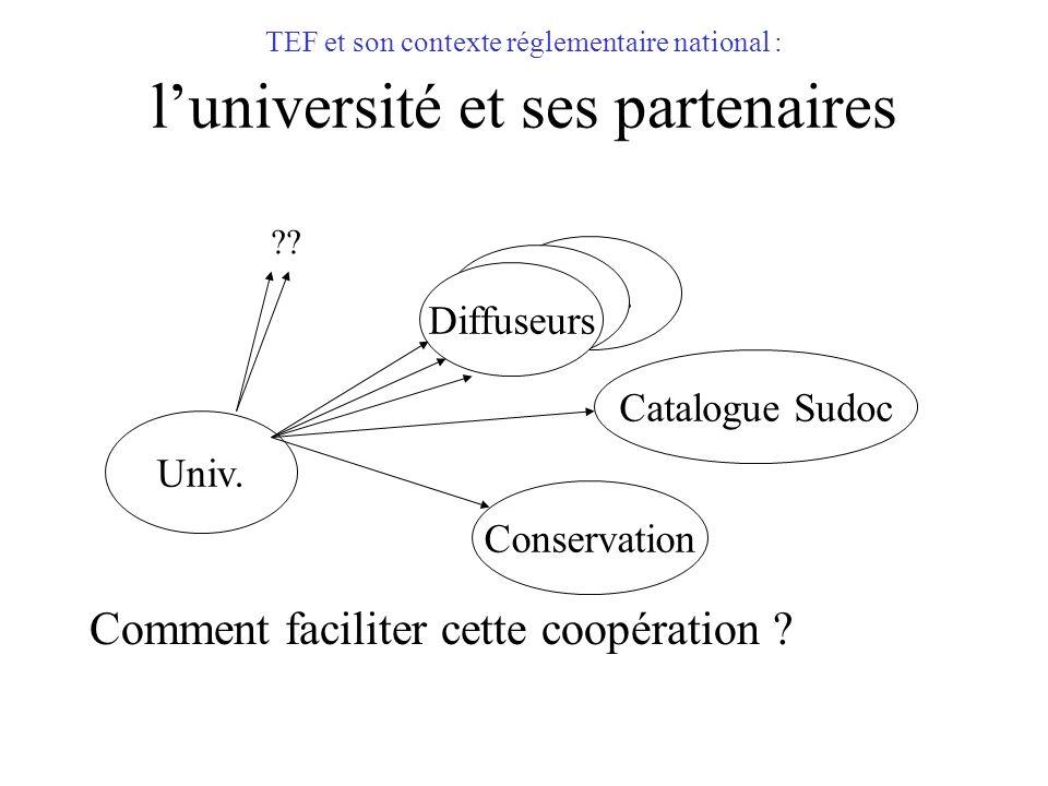 TEF et son contexte réglementaire national : luniversité et ses partenaires Comment faciliter cette coopération ? Catalogue Sudoc Univ. Diffuseurs Con