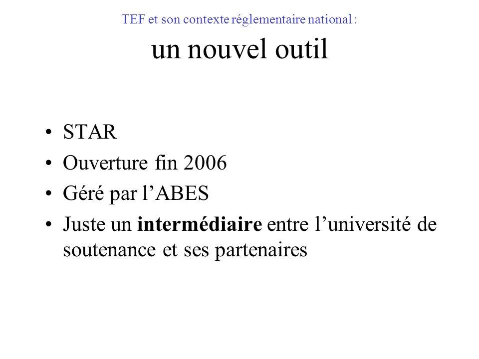 TEF et son contexte réglementaire national : un nouvel outil STAR Ouverture fin 2006 Géré par lABES Juste un intermédiaire entre luniversité de souten