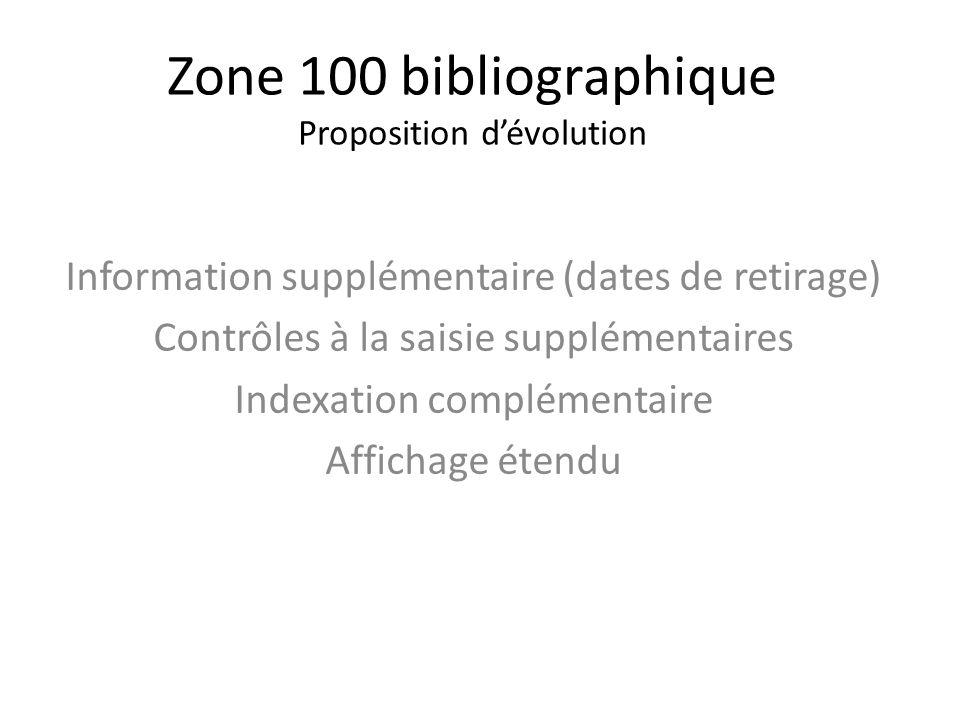 Zone 100 bibliographique Proposition dévolution Information supplémentaire (dates de retirage) Contrôles à la saisie supplémentaires Indexation complé