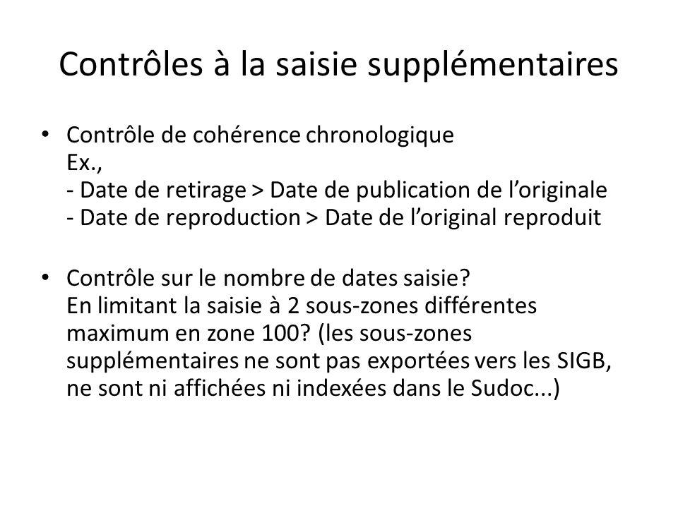 Contrôles à la saisie supplémentaires Contrôle de cohérence chronologique Ex., - Date de retirage > Date de publication de loriginale - Date de reprod