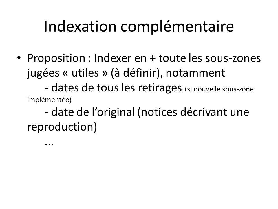 Indexation complémentaire Proposition : Indexer en + toute les sous-zones jugées « utiles » (à définir), notamment - dates de tous les retirages (si nouvelle sous-zone implémentée) - date de loriginal (notices décrivant une reproduction)...
