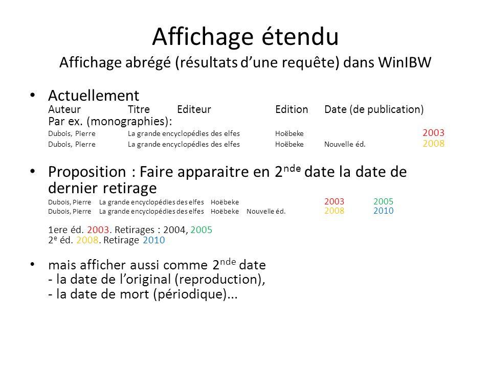 Affichage étendu Affichage abrégé (résultats dune requête) dans WinIBW Actuellement AuteurTitreEditeurEditionDate (de publication) Par ex. (monographi