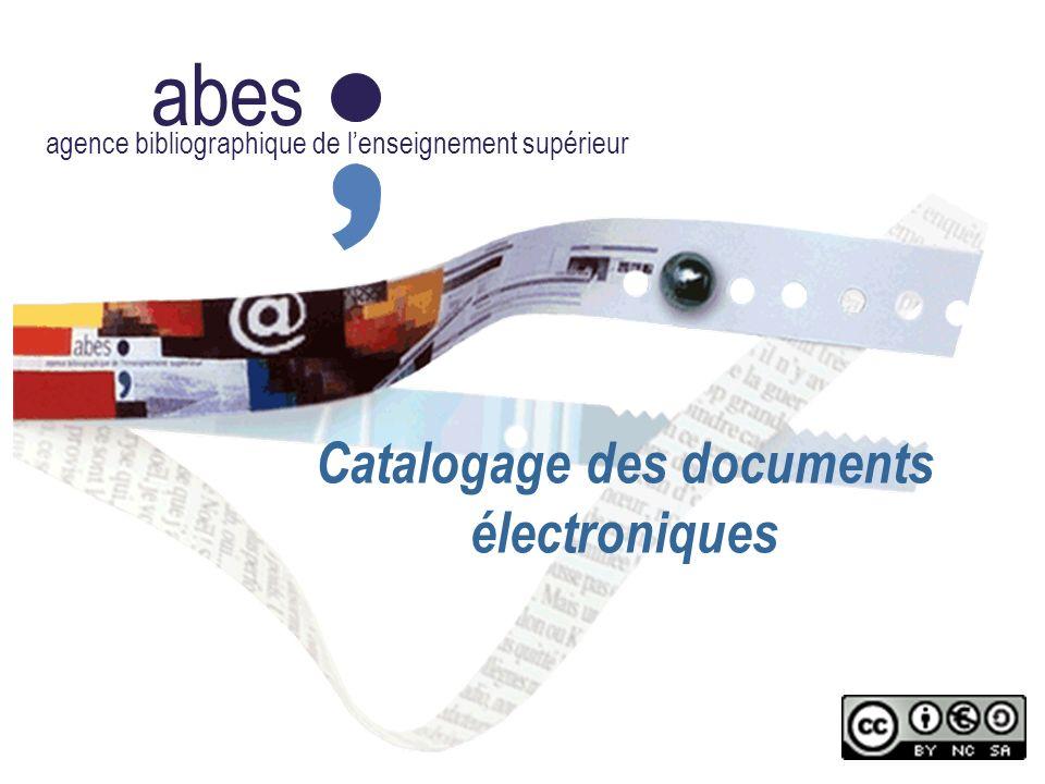 2011-2012 abes agence bibliographique de lenseignement supérieur Typologie des documents électroniques Définition : entité documentaire accessible en ligne ou disponible sur un support informatique directement manipulable par l utilisateur.
