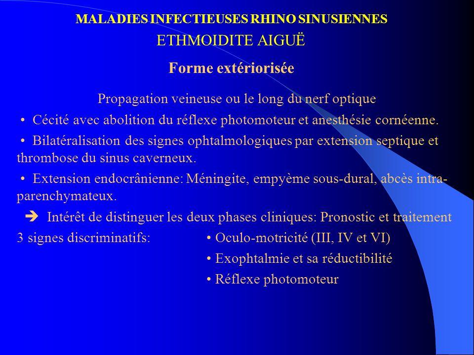MALADIES INFECTIEUSES RHINO SINUSIENNES ETHMOIDITE AIGUË Forme extériorisée Propagation veineuse ou le long du nerf optique Cécité avec abolition du r