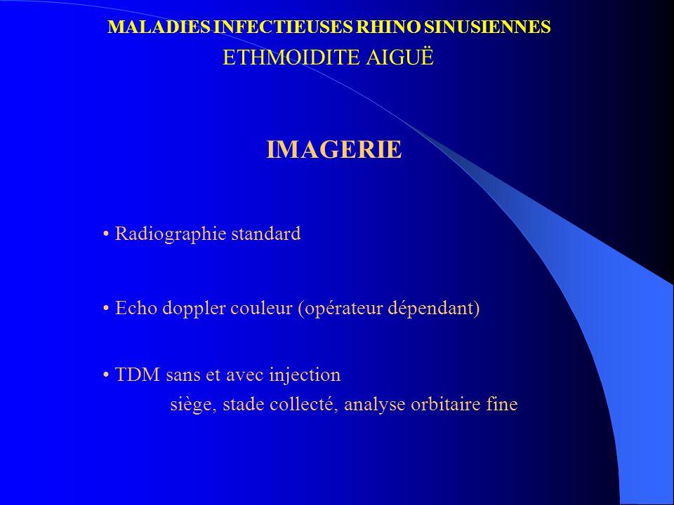 MALADIES INFECTIEUSES RHINO SINUSIENNES ETHMOIDITE AIGUË IMAGERIE Radiographie standard Echo doppler couleur (opérateur dépendant) TDM sans et avec in