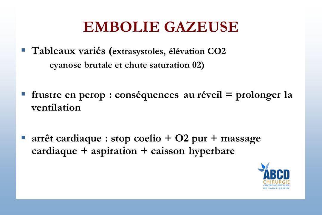 EMBOLIE GAZEUSE Tableaux variés ( extrasystoles, élévation CO2 cyanose brutale et chute saturation 02) frustre en perop : conséquences au réveil = pro