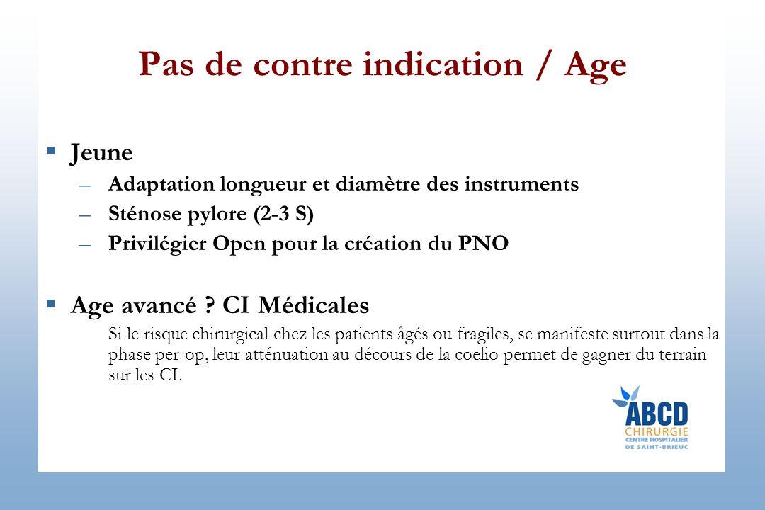 Pas de contre indication / Age Jeune –Adaptation longueur et diamètre des instruments –Sténose pylore (2-3 S) –Privilégier Open pour la création du PNO Age avancé .