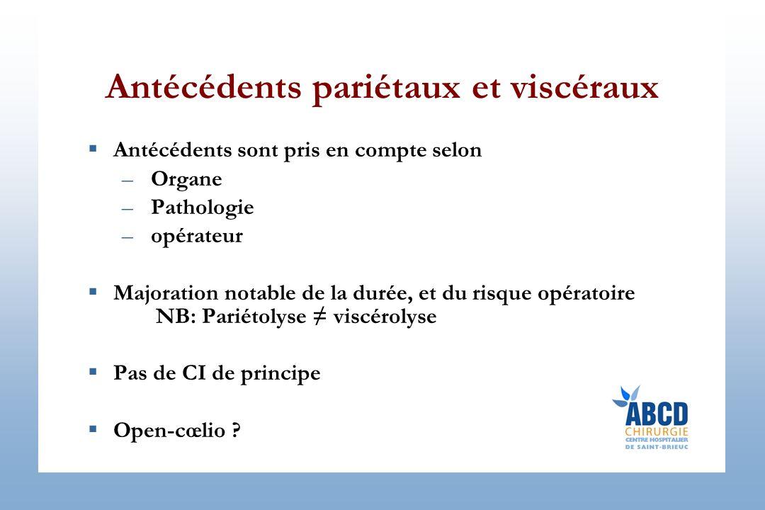Antécédents pariétaux et viscéraux Antécédents sont pris en compte selon –Organe –Pathologie –opérateur Majoration notable de la durée, et du risque o