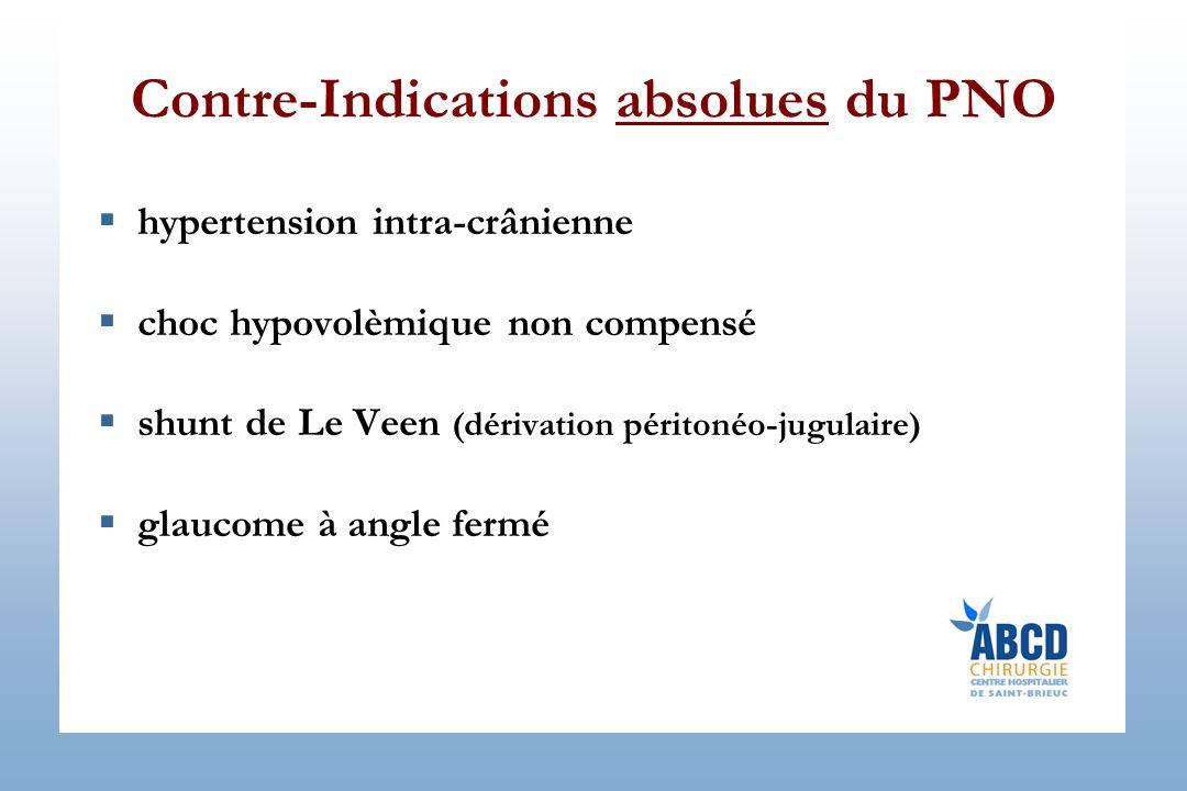 Contre-Indications absolues du PNO hypertension intra-crânienne choc hypovolèmique non compensé shunt de Le Veen (dérivation péritonéo-jugulaire) glaucome à angle fermé