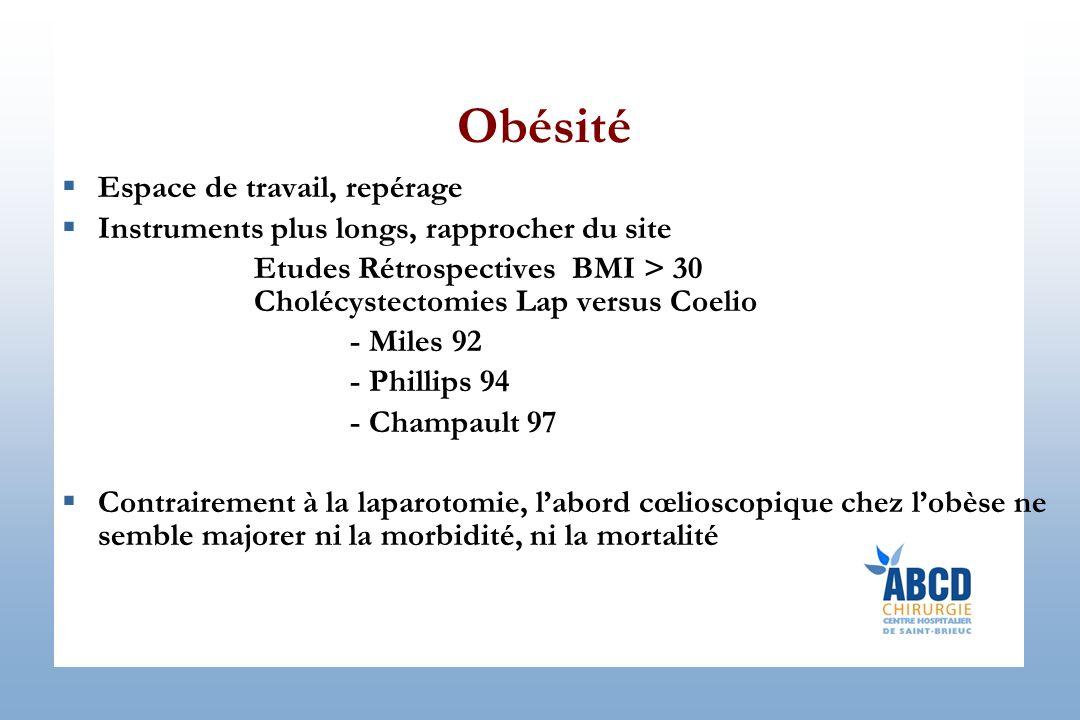 Obésité Espace de travail, repérage Instruments plus longs, rapprocher du site Etudes Rétrospectives BMI > 30 Cholécystectomies Lap versus Coelio - Mi