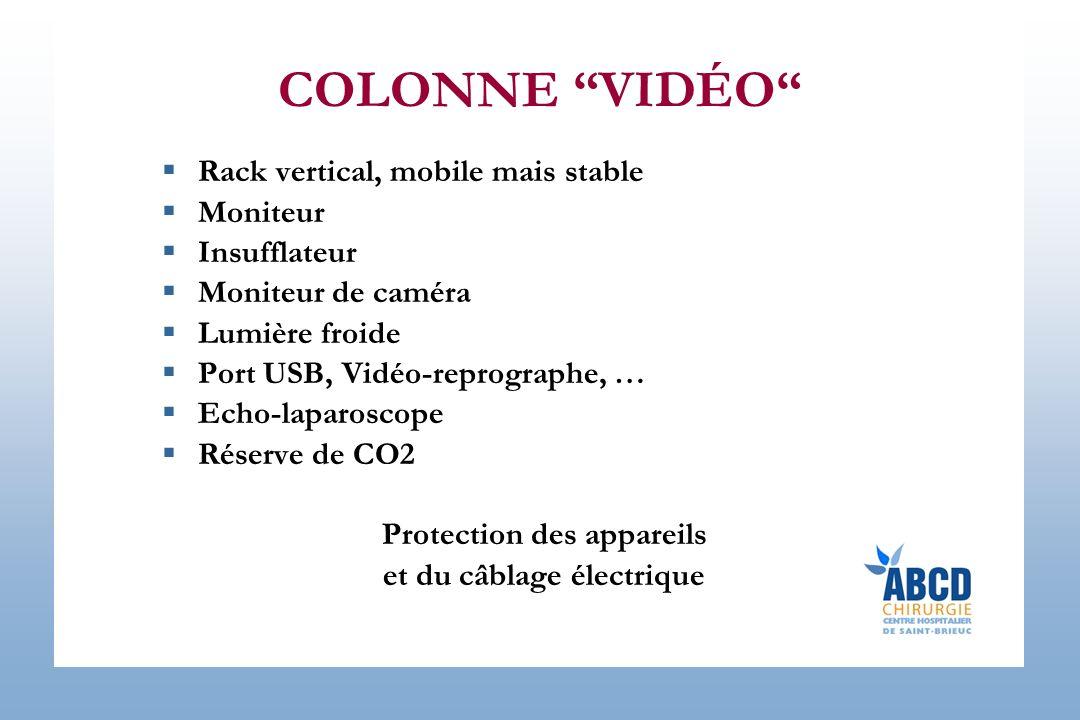 COLONNE VIDÉO Rack vertical, mobile mais stable Moniteur Insufflateur Moniteur de caméra Lumière froide Port USB, Vidéo-reprographe, … Echo-laparoscope Réserve de CO2 Protection des appareils et du câblage électrique
