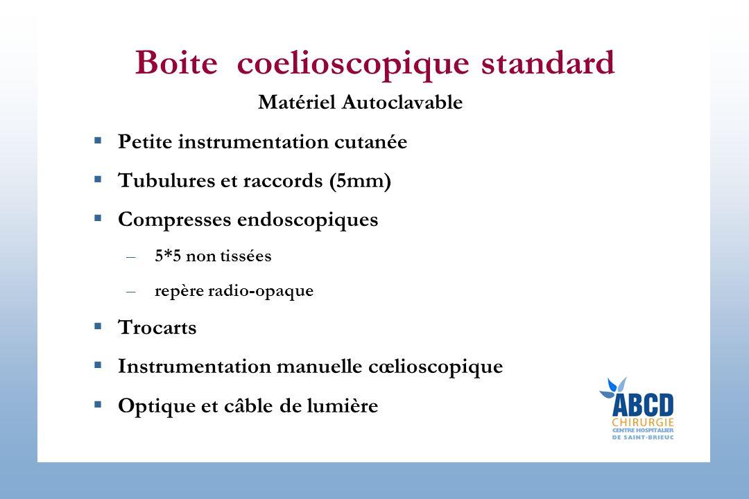 Boite coelioscopique standard Matériel Autoclavable Petite instrumentation cutanée Tubulures et raccords (5mm) Compresses endoscopiques –5*5 non tissé