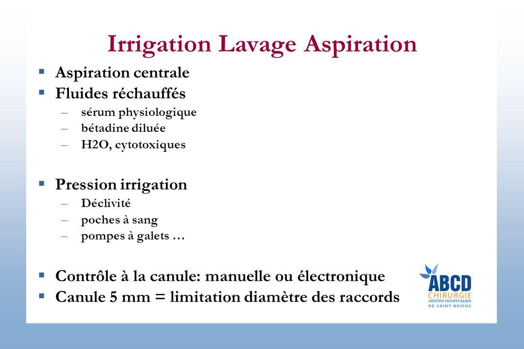 Irrigation Lavage Aspiration Aspiration centrale Fluides réchauffés –sérum physiologique –bétadine diluée –H2O, cytotoxiques Pression irrigation –Décl