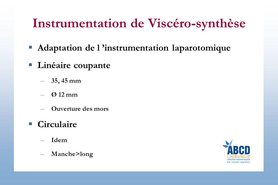Instrumentation de Viscéro-synthèse Adaptation de l instrumentation laparotomique Linéaire coupante –35, 45 mm –Ø 12 mm –Ouverture des mors Circulaire –Idem –Manche>long