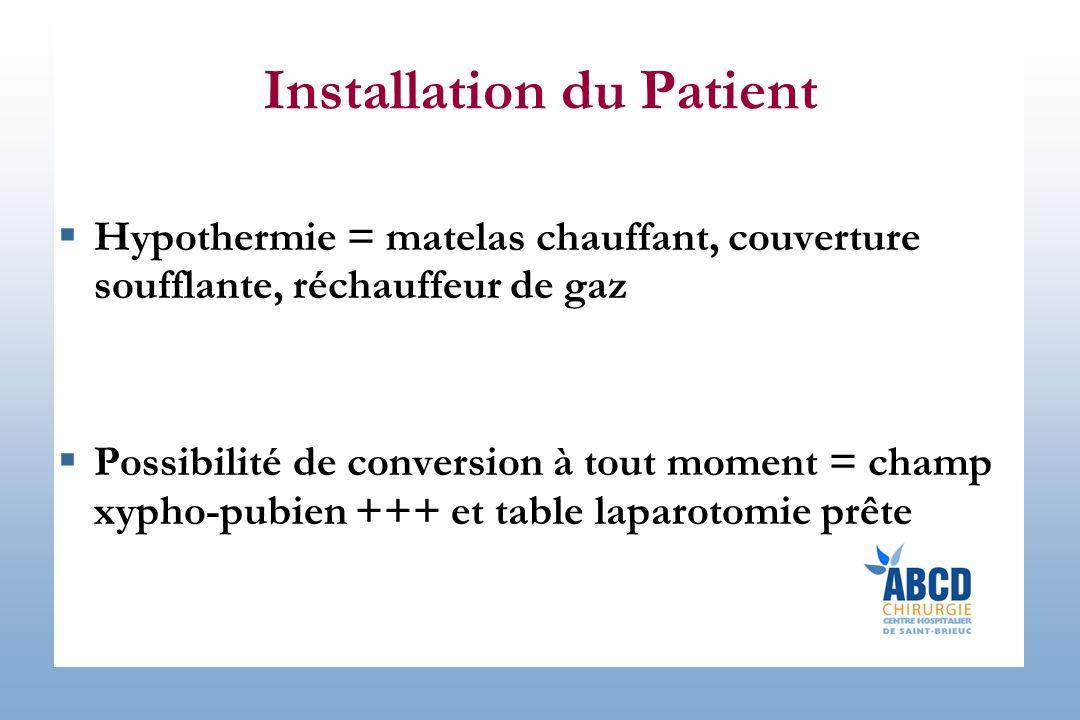 Installation du Patient Hypothermie = matelas chauffant, couverture soufflante, réchauffeur de gaz Possibilité de conversion à tout moment = champ xypho-pubien +++ et table laparotomie prête