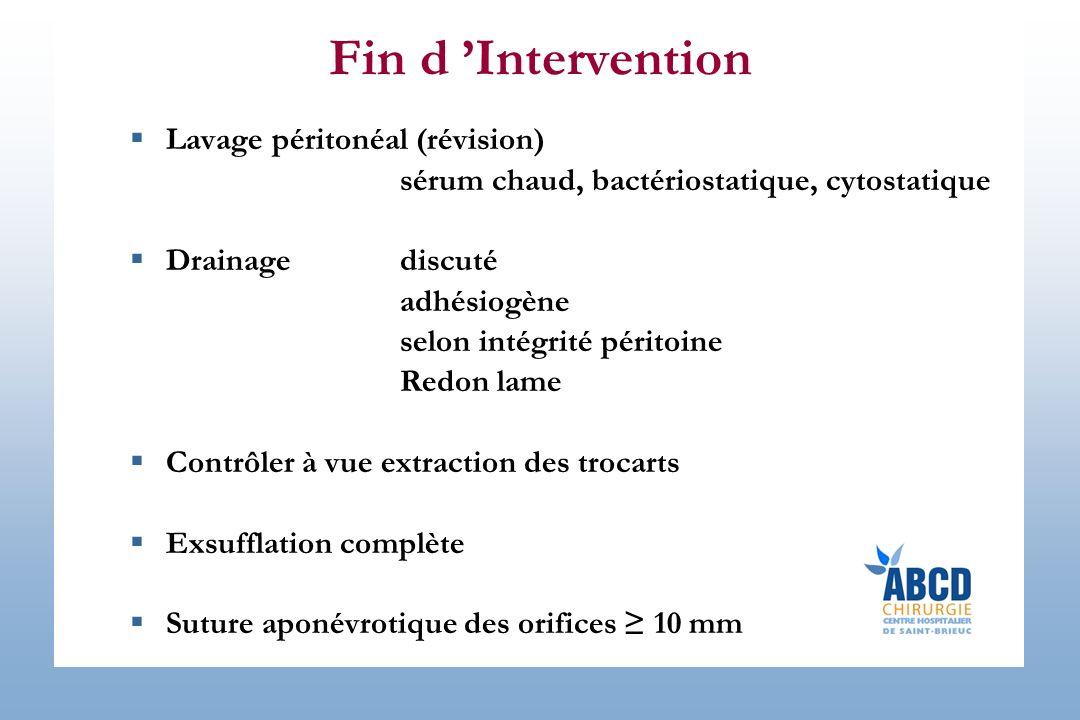 Fin d Intervention Lavage péritonéal (révision) sérum chaud, bactériostatique, cytostatique Drainagediscuté adhésiogène selon intégrité péritoine Redo